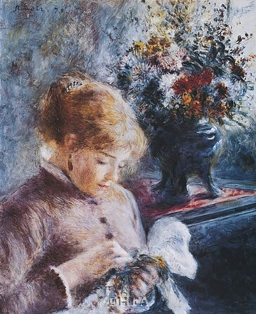 Lady Sewing by Pierre-Auguste Renoir art print