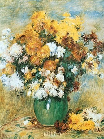 Vase of Chrysanthemums by Pierre-Auguste Renoir art print