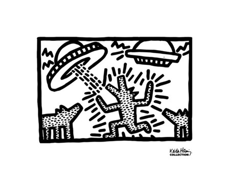 Untitled, 1982 (dogs with UFOs) by Keith Haring art print