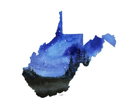 West Virginia State Watercolor by Jessica Durrant art print