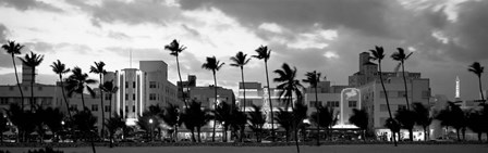 Buildings Lit Up At Dusk, Ocean Drive, Miami Beach, Florida by Panoramic Images art print