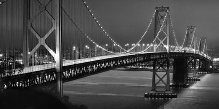 Oakland Bridge 2 BW by Moises Levy art print